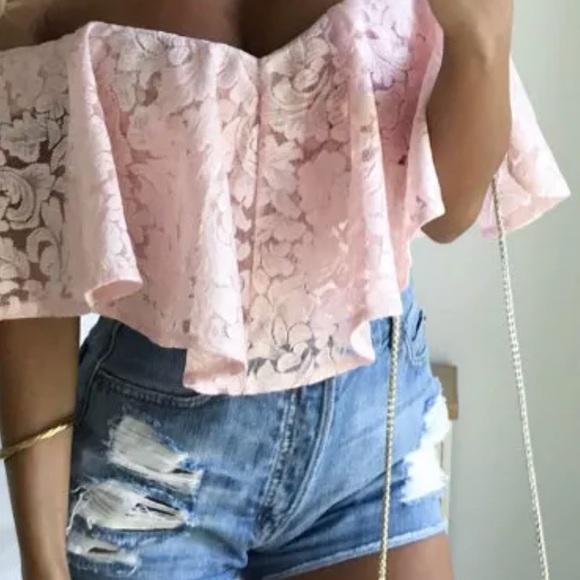 8856500cd7a Pink lace ruffle off shoulder bodysuit pastel top